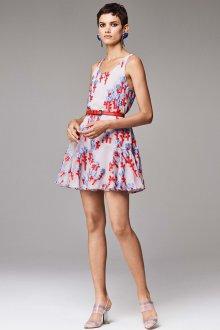 Платье шифоновое с принтом и вышивкой