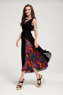 Платье с принтом вечернее черное