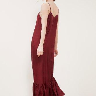 Шелковое платье бордовое