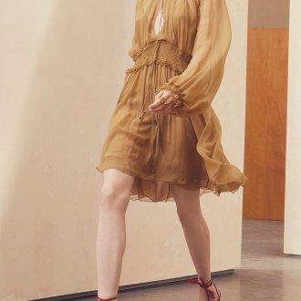 Шелковое платье горчичное