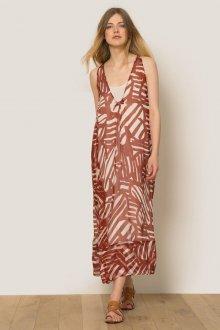 Шелковое платье коричневое