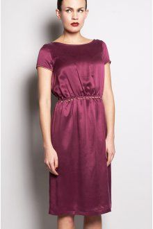 Шелковое платье с коротким рукавом