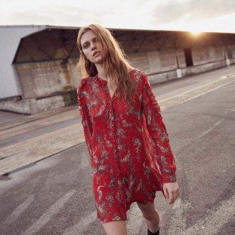 Шелковое платье красное с принтом
