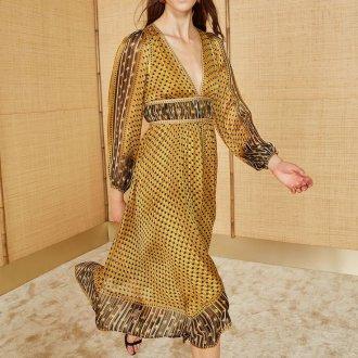 Шелковое платье желтое с принтом