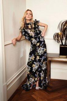 Шелковое платье с воланами длинное