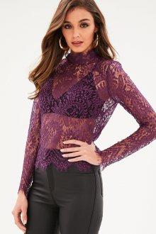 Кружевная блузка фиолетовая с рукавами