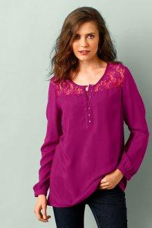 Кружевная блузка фиолетовая