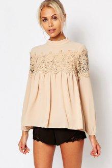 Кружевная блузка нюдовая