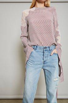 Кружевная блузка полосатая