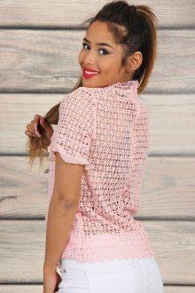 Кружевная блузка розовая