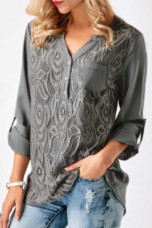 Кружевная блузка серая