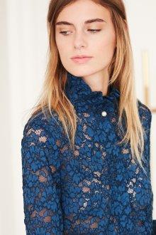 Кружевная блузка синяя