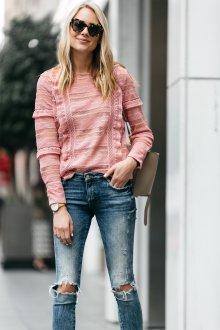 Кружевная блузка трикотажная