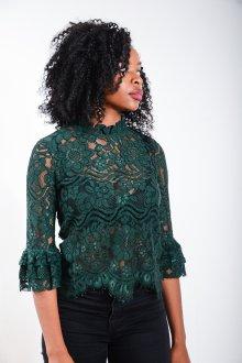 Кружевная блузка зеленая