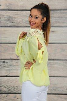 Кружевная блузка желтая