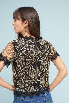 Кружевная блузка золотая