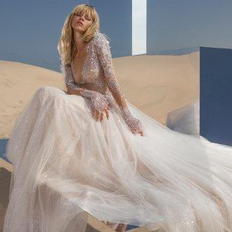 Пышное свадебное платье блестящее
