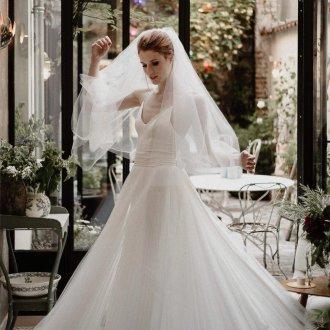 Пышное свадебное платье плиссе