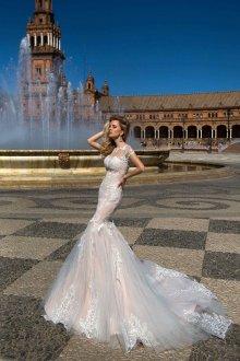 Пышное свадебное платье русалка кружевное