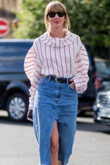 Юбка с завышенной талией джинсовая с разрезом