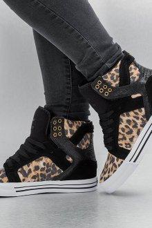 Черные кеды леопардовые