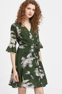 Расклешенное платье зеленое с принтом