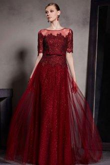 Платье с фатином бордовое