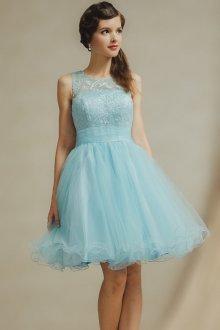 Платье с фатином голубое