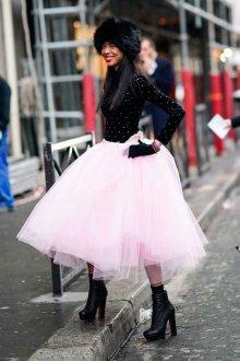 Платье с фатином комбинированное