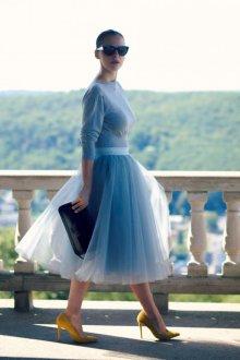 Платье с фатином трикотажное