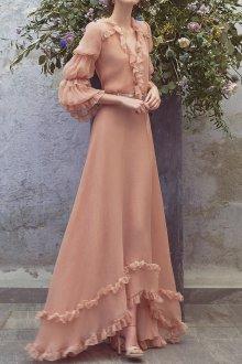 Платье с воланами бежевое длинное