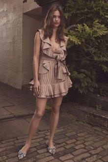 Платье с воланами бежевое