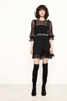 Платье с воланами черное прозрачное