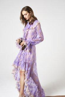Платье с воланами фиолетовое