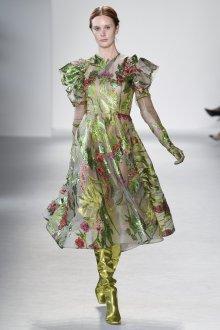 Платье с воланами миди зеленое