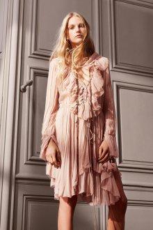Платье с воланами нюдовое