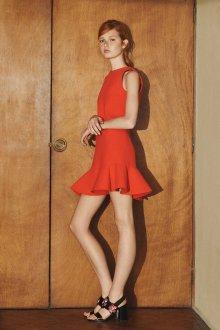Платье с воланами оранжевое