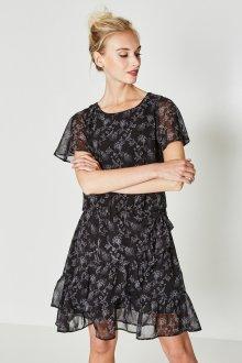 Платье с воланами и принтом