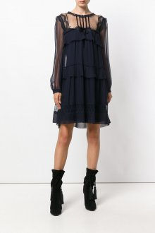 Платье с воланами прозрачное