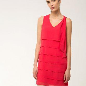 Платье с воланами розовое