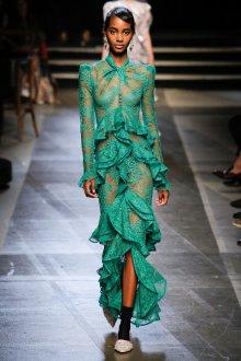 Платье с воланами зеленое