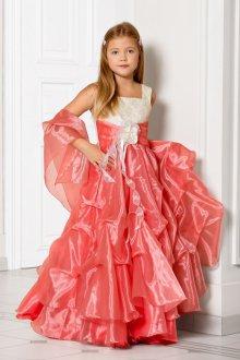 Вечернее платье для девочки коралловое