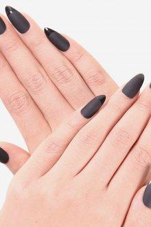 Черный маникюр френч на длинные ногти