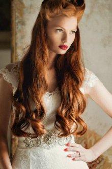 Макияж для рыжих свадебный с красными губами