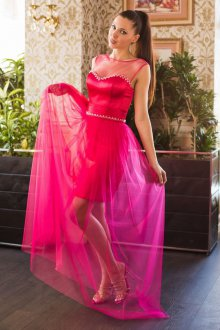 Платье трансформер на выпускной розовое