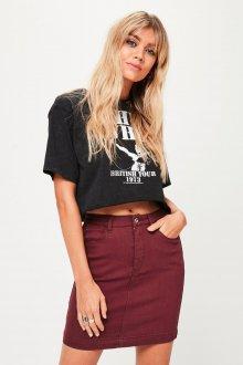 Бордовая юбка джинсовая