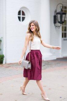 Бордовая юбка из хлопка