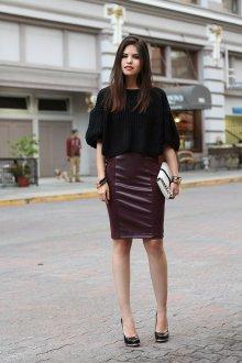 Бордовая юбка комбинированная