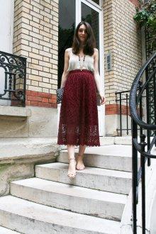 Бордовая юбка кружевная