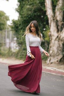 Бордовая юбка макси